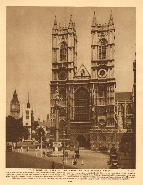 Associate Product The hand of Wren in the fabric of Westminster Abbey 1926 old vintage print