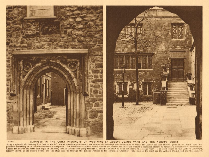 Associate Product Westminster Abbey. Dean's Yard and the Abbot's court 1926 old vintage print