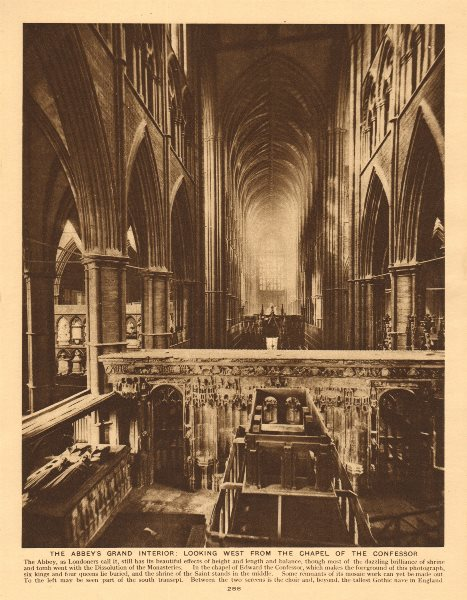 Associate Product Westminster Abbey interior. west from the Confessor's chapel 1926 old print