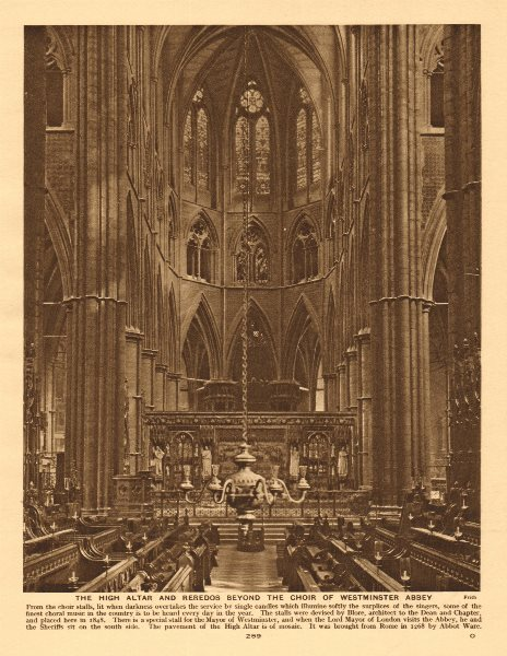 Associate Product The High Altar and reredos beyond the choir of Westminster Abbey 1926 print
