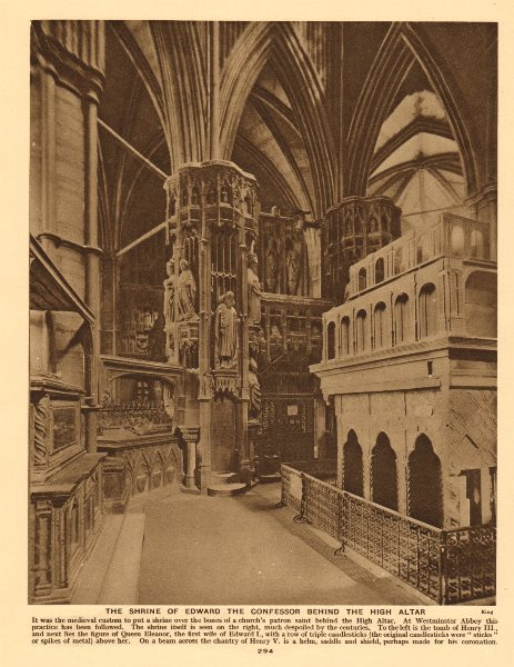 Associate Product Westminster Abbey. Edward the Confessor's shrine by the High Altar 1926 print