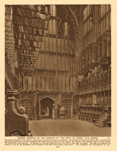 Associate Product Westminster Abbey. Knights of the Bath banners, Henry VII' s chapel 1926 print