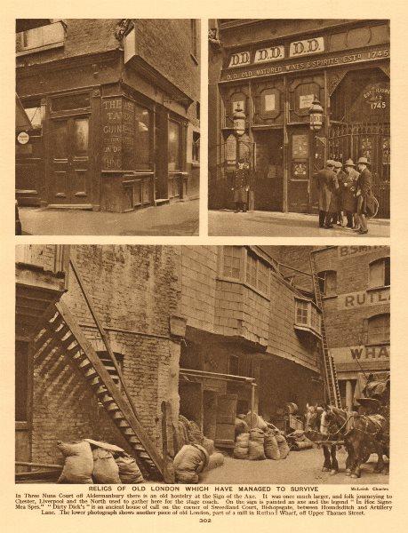 Three Nuns Court, Aldermanbury. Dirty Dick's, Sweedland Court.Rutland Wharf 1926