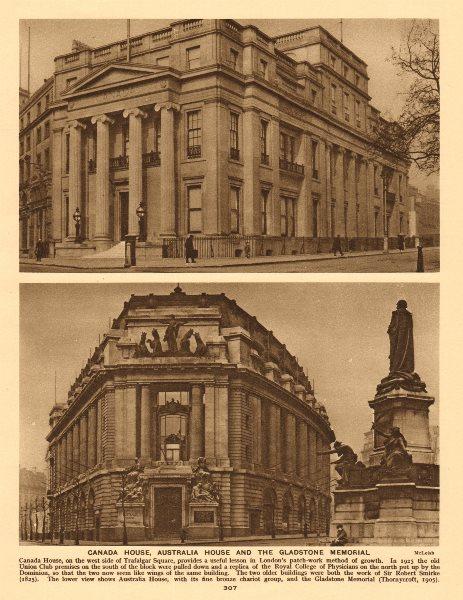 Associate Product Canada House, Trafalgar Square.Australia House & Gladstone memorial 1926 print