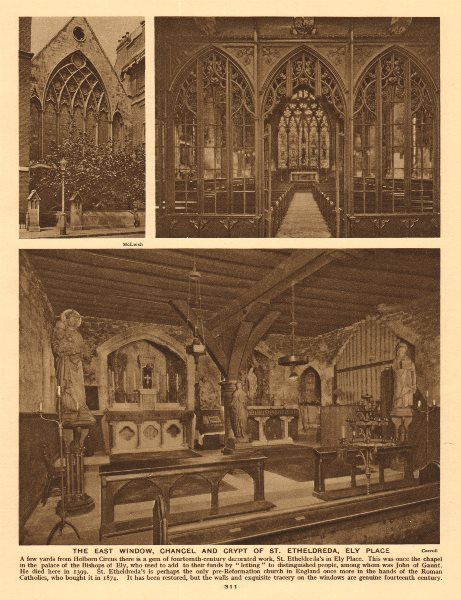 The east window, chancel and crypt of St. Etheldreda, Ely Place 1926 old print