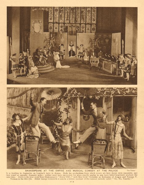 Associate Product Shakespeare, Empire Theatre. Musical comedy at the Palace Theatre 1926 print
