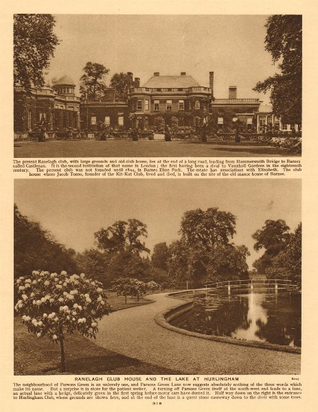 Associate Product Ranelagh Club House and the lake at Hurlingham 1926 old vintage print picture
