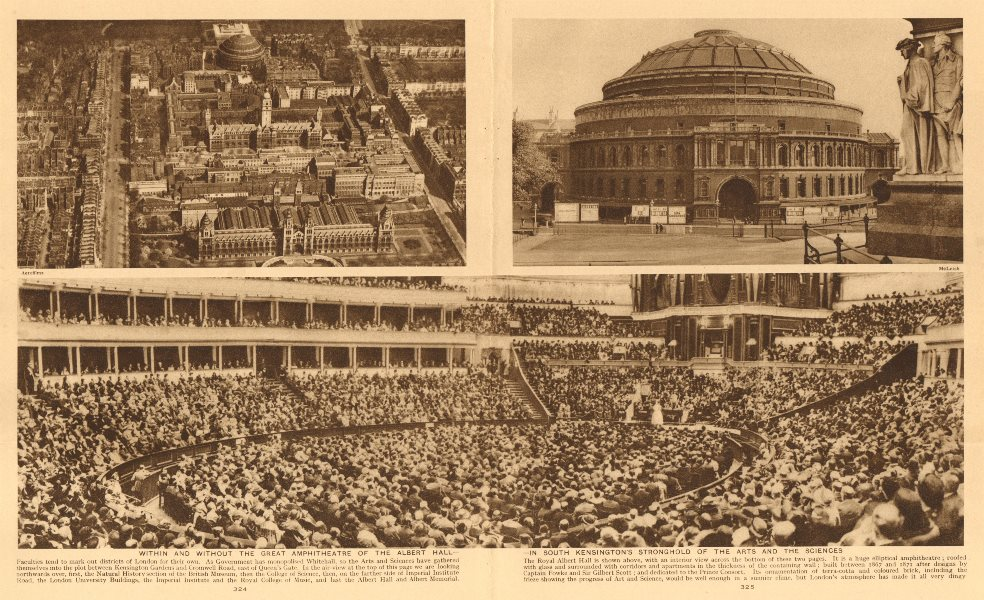 Associate Product Royal Albert Hall, South Kensington. From the air/Interior/exterior 1926 print