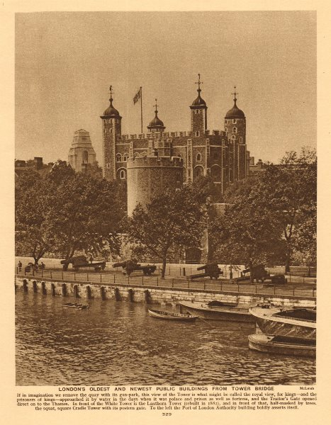 Associate Product Tower of London & Port of London Authority Building 1926 old vintage print