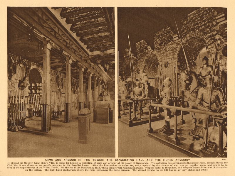 Associate Product Tower of London. Arms and armour. Banqueting Hall & Horse Armoury 1926 print