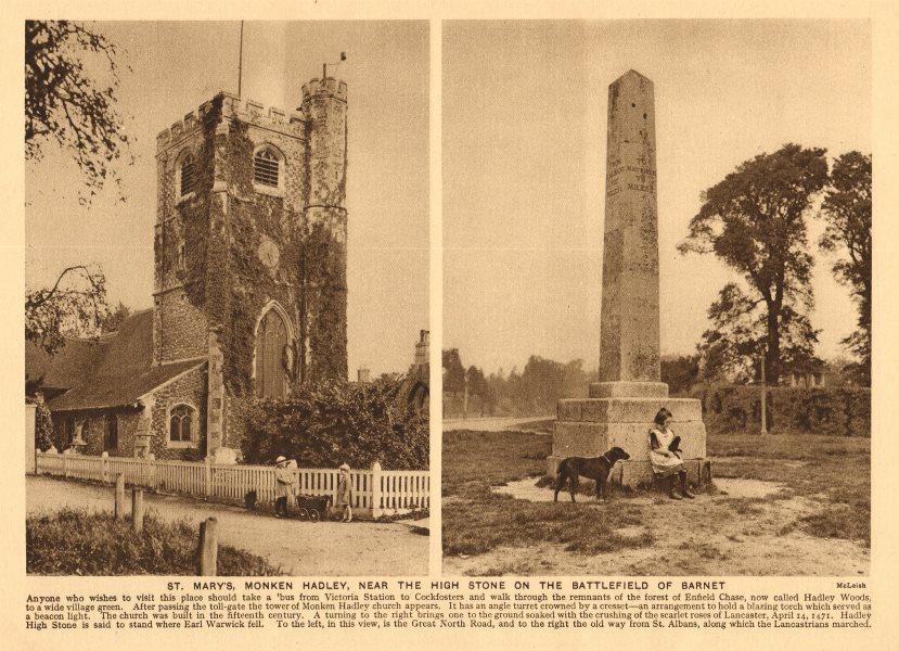 Associate Product St. Mary's, Monken Hadley. High stone on the Battlefield of Barnet 1926 print