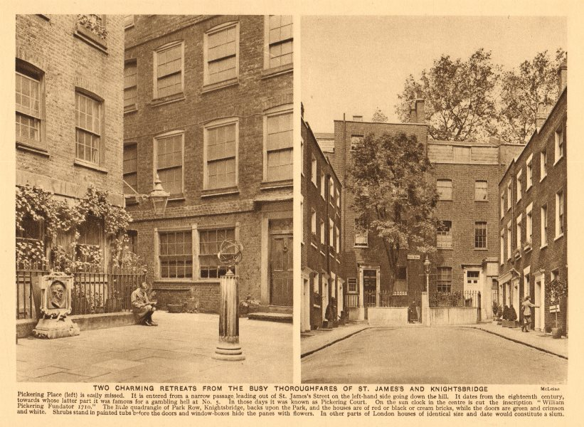 Associate Product Pickering Place, St. James's and Park Row, Knightsbridge 1926 old print
