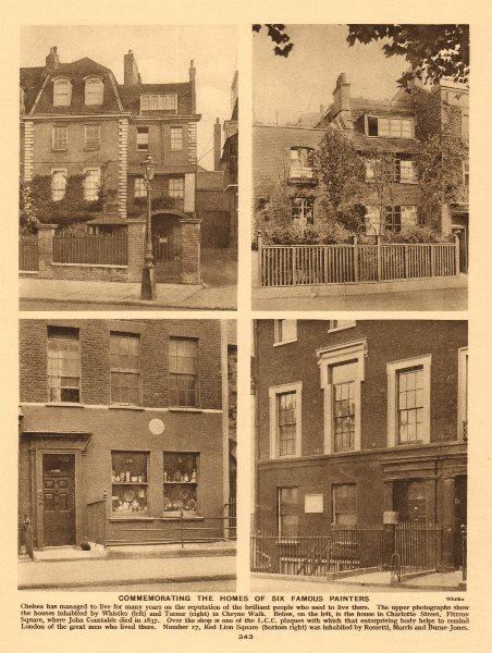 Associate Product London painters. Whistler/Turner, Cheyne Walk. Constable, Charlotte Street 1926