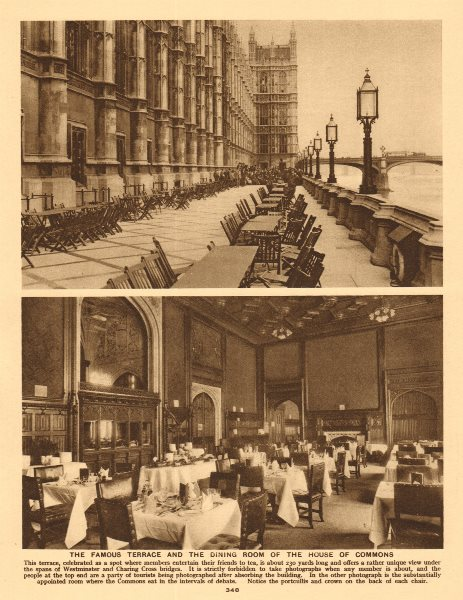 Associate Product The famous terrace and the dining room of the House of Commons 1926 old print