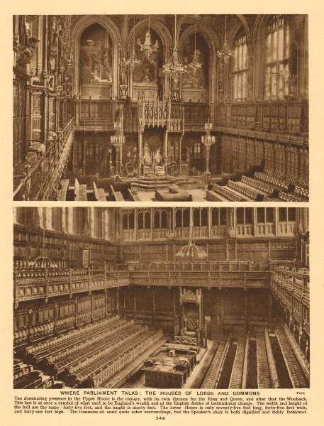 Associate Product Where Parliament talks. the Houses of Lords and Commons 1926 old vintage print