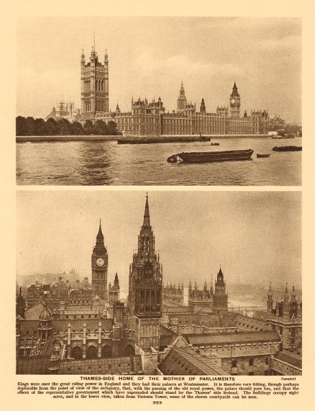 """Associate Product Palace of Westminster """"The mother of parliaments"""" 1926 old vintage print"""