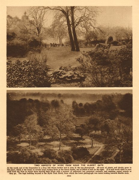 Associate Product Two aspects of Hyde Park near the Albert Gate 1926 old vintage print picture
