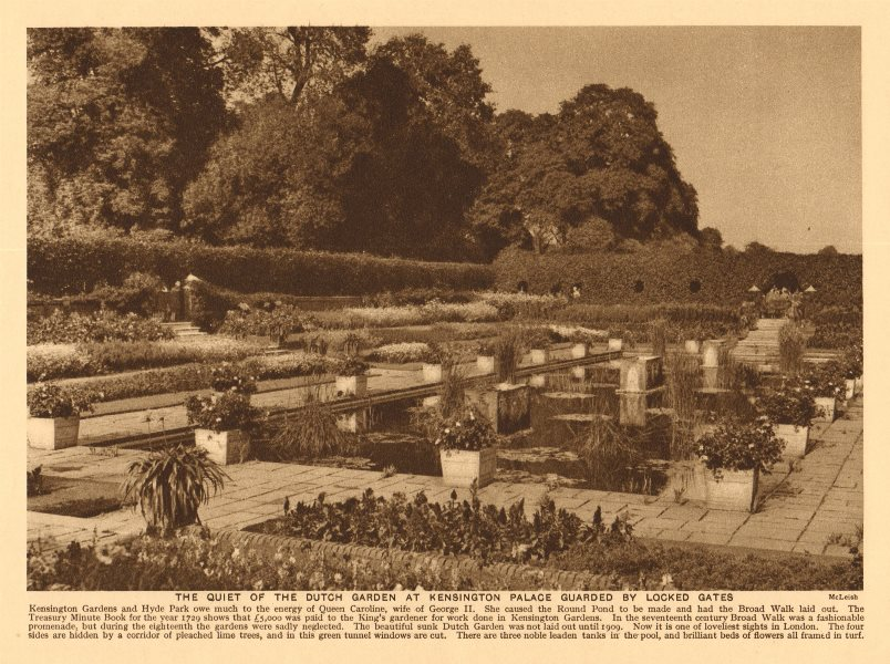 Associate Product The Dutch garden at Kensington Palace guarded by locked gates 1926 old print