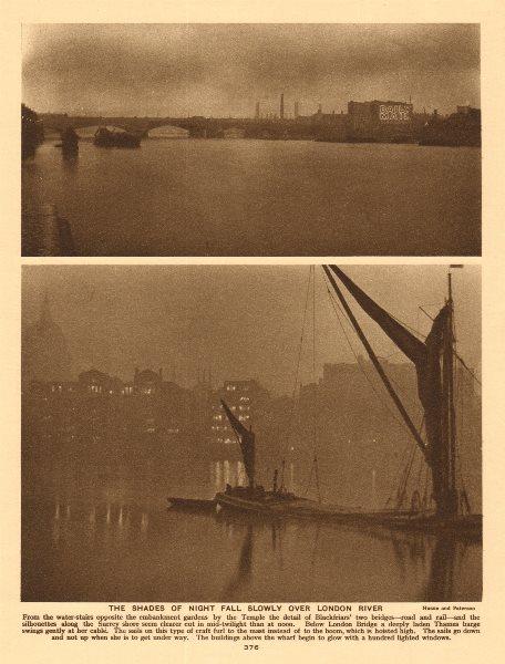 Associate Product Night time on the Thames. Blackfriars Bridge. St Paul's 1926 old vintage print