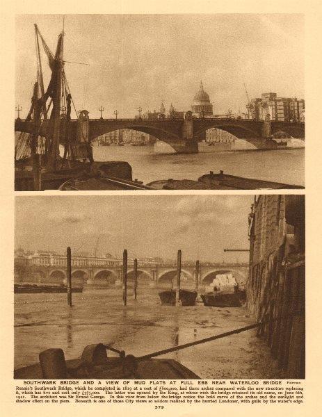 Associate Product Southwark Bridge & mud flats at full ebb near Waterloo Bridge 1926 old print