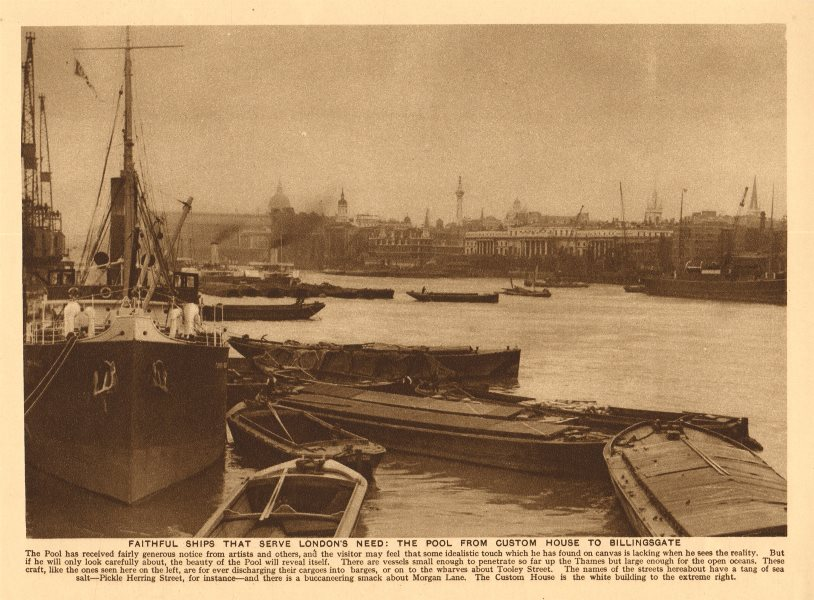 Associate Product The Pool of London from Custom House to Billingsgate 1926 old vintage print