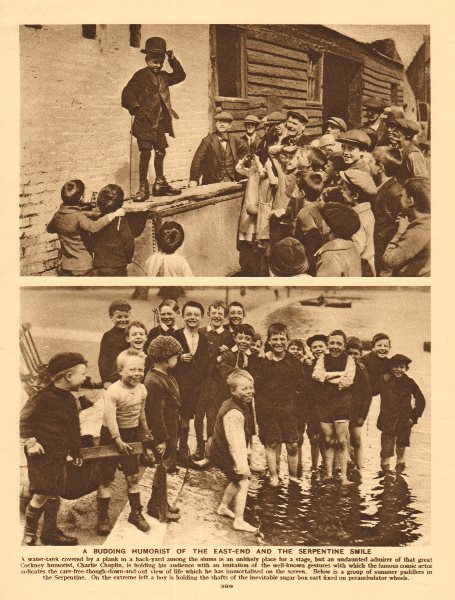 Associate Product A budding East End comedian. Children at the Serpentine 1926 old vintage print