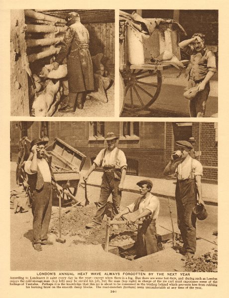 Associate Product London labourers in a heat wave. Road works 1926 old vintage print picture