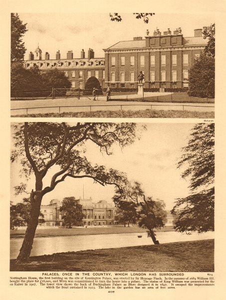 Associate Product Kensington Palace. Rear of Buckingham Palace & lake 1926 old vintage print