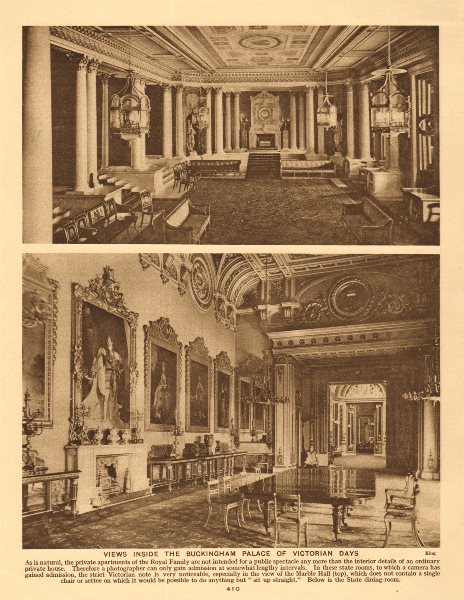 Associate Product Views inside the Buckingham Palace of Victorian days 1926 old vintage print