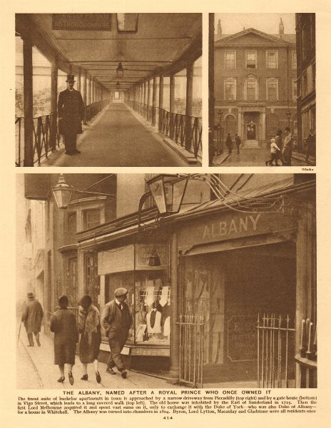 Associate Product The Albany,Vigo Street/Piccadilly. Bachelor apartments 1926 old vintage print