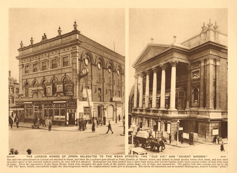 Associate Product The Old Vic Theatre and The Royal Opera House, Covent Garden 1926 print