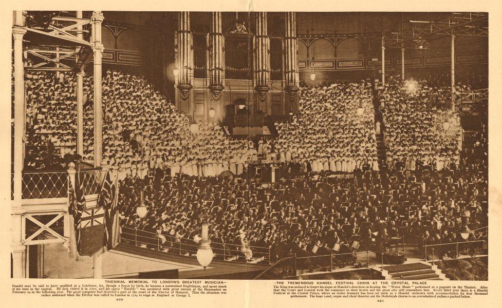 Triennial Handel festival choir at the Crystal Palace 1926 old vintage print