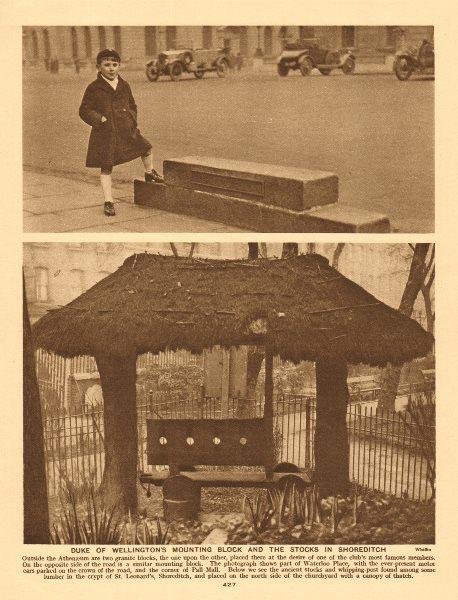 Associate Product Wellington's horse block, Waterloo Place. Shoreditch stocks, St Leonard's 1926