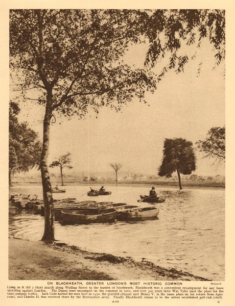 Associate Product Blackheath boating pond. Rowing boats. All Saints Church in distance 1926