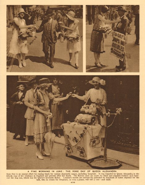 Associate Product Queen Alexandra Rose Day in June. Consort of Edward VII 1926 old vintage print