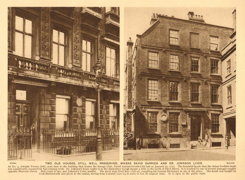 Associate Product Garrick's house, 5 Adelphi Terrace. Dr Johnson's house, Gough Square 1926