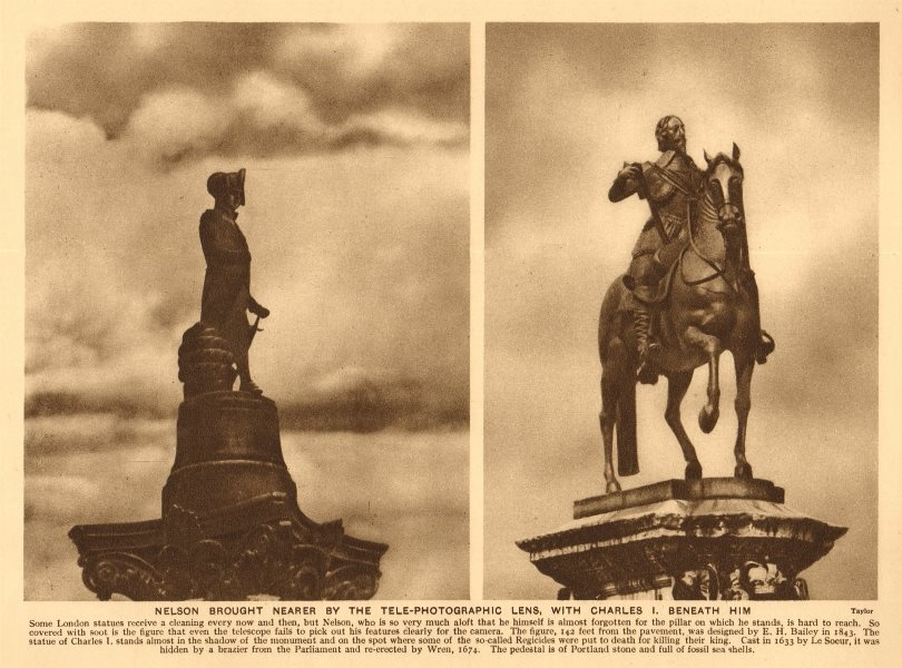 Associate Product Nelson's column. Charles I equestrian statue Charing Cross. Le Sueur 1926