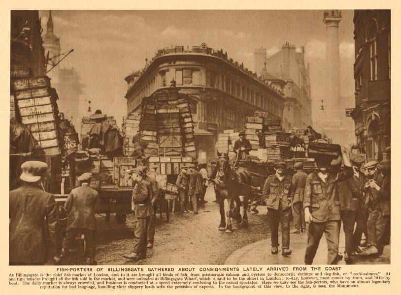 Associate Product Fish-porters of Billingsgate market. 'Legendary bad language'. Monument 1926
