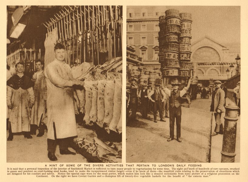 Associate Product Smithfield Meat Market. Covent Garden.carrying 25 vegetable baskets on head 1926