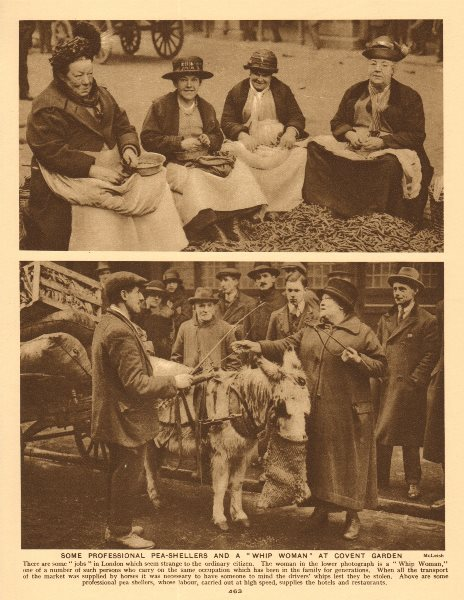 Associate Product Professional pea-shellers and a 'Whip Woman' at Covent Garden 1926 old print