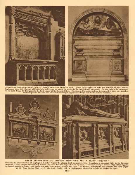 Associate Product Great St Helen's Bishopsgate nuns' squint Crosby. Yonge. St Alphage Hayward 1926