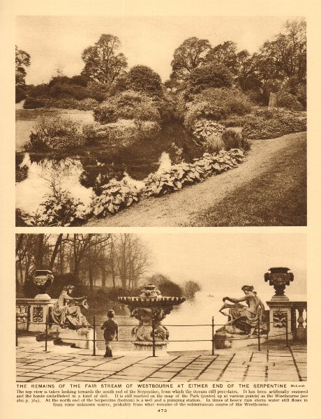 Associate Product The Westbourne stream at either end of the Serpentine 1926 old vintage print