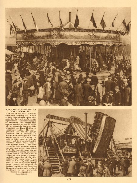 Associate Product Fun fair on a Bank Holiday on Hampstead Heath 1926 old vintage print picture
