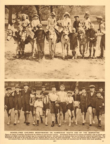 Children riding ponies on Hampstead Heath. By the Serpentine 1926 old print