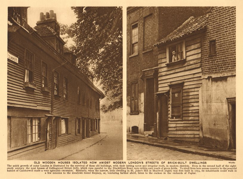 Associate Product Wooden houses. Collingwood Street, Camberwell & St John's Hill, Shadwell 1926