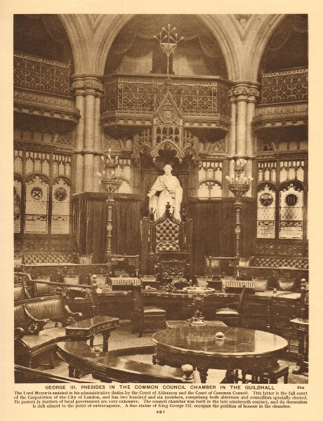 Associate Product George III presides in the Common Council Chamber in the Guildhall 1926 print