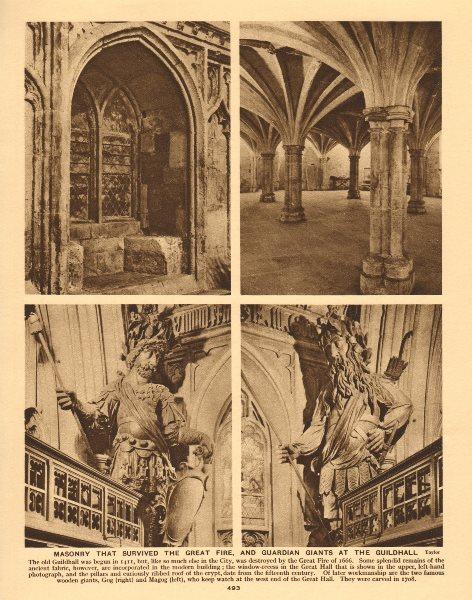 Associate Product Guildhall Great Hall masonry pre-1666. Gog & Magog 1926 old vintage print