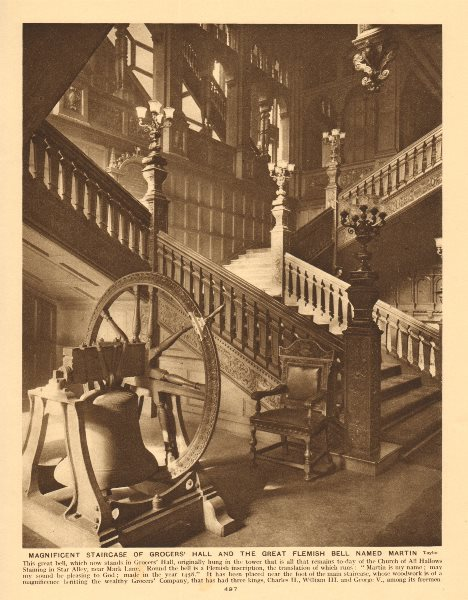 Associate Product Grocers' Hall staircase and the great Flemish Bell named Martin 1926 old print