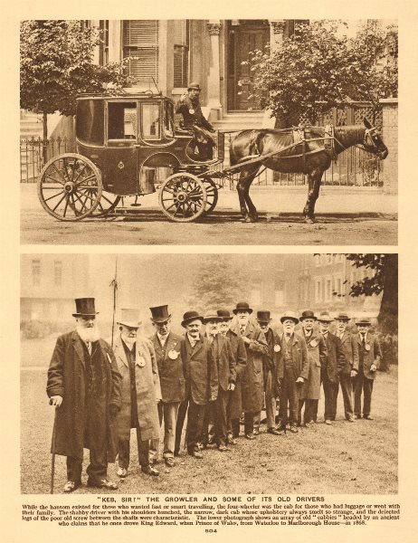 Associate Product London taxis & drivers. The Growler & some of its drivers. Cabbies 1926 print