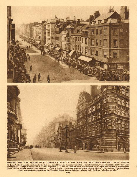 Associate Product St. James's Street in the 1880's awaiting Queen Victoria & 1926 1926 old print